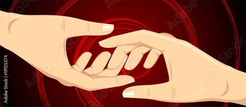 Illustration of two hands in red design background