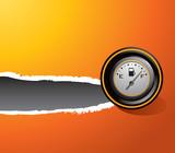 Gas gauge orange ripped banner poster
