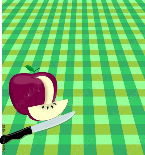 Illustration of an apple has been cut by a knife