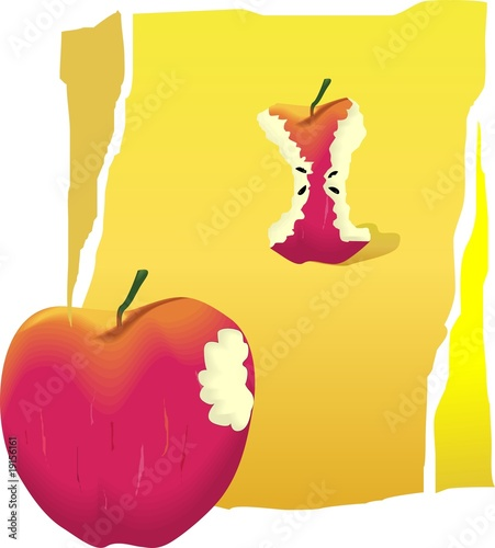 Illustration of an apple and remains of a sliced apple