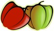 Illustration of a green and red capsicums