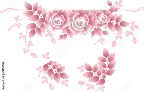 Design elements with pink silky roses.