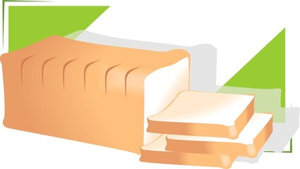 Illustration of peaces of bread in a green background