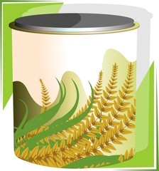 Illustration of wheat powder in a container