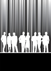 barcode stripped background with people silhouettes