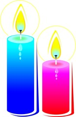Illustration of two candles with colour