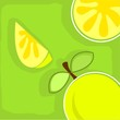 Illustration of lemons in a green background
