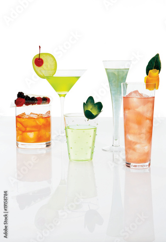 different mixed drinks dressed up with fresh fruits