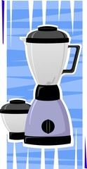 Illustration of electric mixer  and a jar