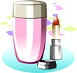 Digital illustration of lipstick and tin in colour background