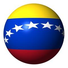 Venezuela flag sphere isolated on white illustration