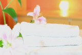 SPA scenery with two lilies falling on white towels, 60FPS
