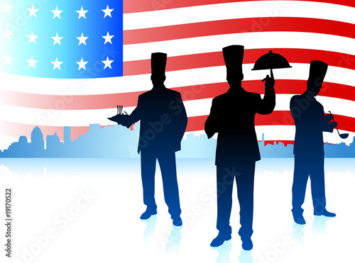 Chefs on United States flag background