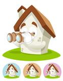 House Cartoon Mascot - binocular poster