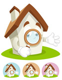 House Cartoon Mascot - magnifying glass poster