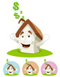 House Cartoon Mascot - making money