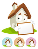 House Cartoon Mascot - white board poster