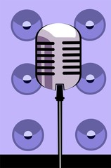 metallic colour microphone  in violet designed background