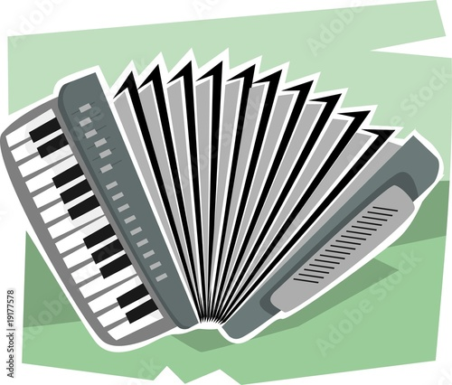 Illustration of an harmonium in a green background