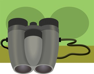 Illustration of binocular with colour background