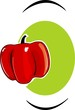 Illustration of a red capsicum in green background