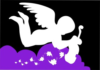 Illustration of a cupid flying in sky