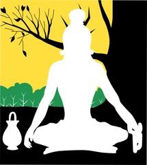 Illustration of a yogi is meditating