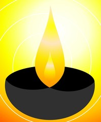 Illustration of divine pot lamp in yellow background