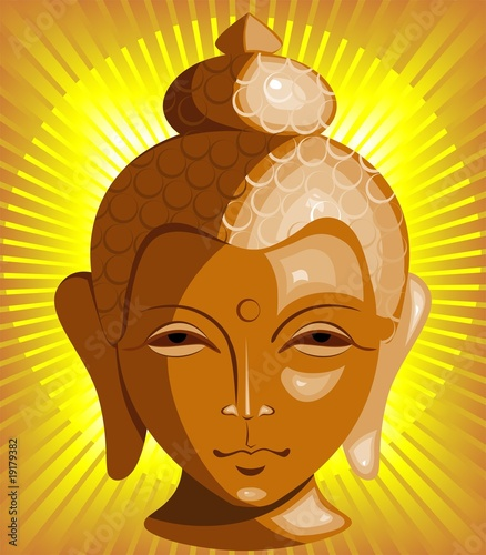 Illustration of Lord Buddha face in yellow beam
