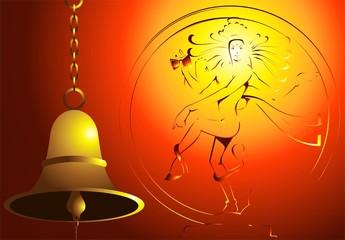 Illustration Natraja statue and hanging bell