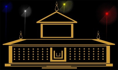 Illustration of a temple and color lights