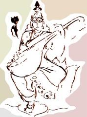 goddess Saraswati with music instrument