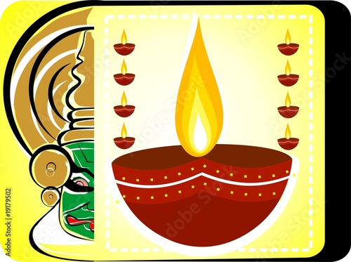 Illustration of Kathakali face and ignited oil pots