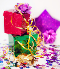 Assorted gift boxes and ribbon