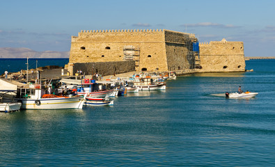 Port of the city of Iraklion and Venetian port with a fortress