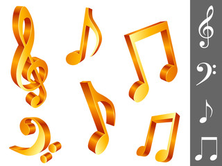 Six golden music notes, isolated on white background.