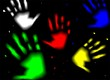 Illustration of colour hands in dark background