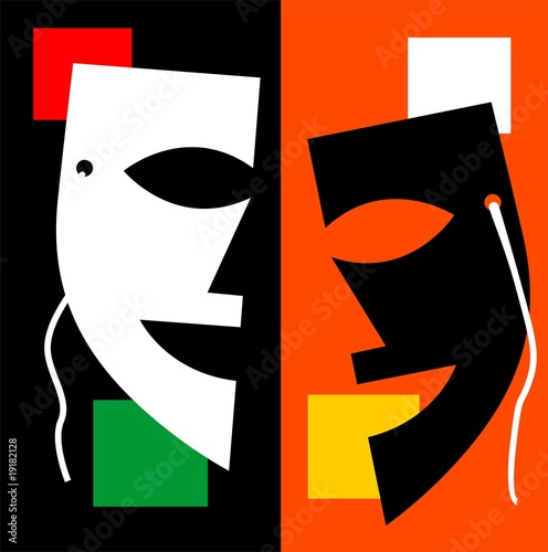 Illustration of mask with colour background