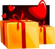 Illustration of a gift box and heart symbol