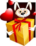 Illustration of a gift box and rabbit