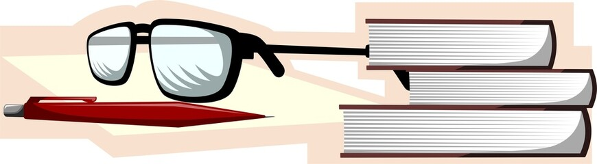 books and spectacles in a shade background