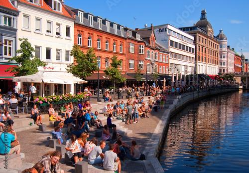 Leinwanddruck Bild Aarhus canal