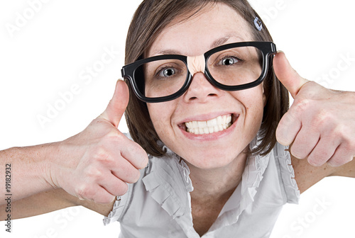 Geeky Female with Double Thumbs Up