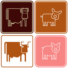 Pig and cow - sign