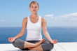 Beautiful female in the lotus position , practicing yoga outside