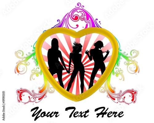 Cuore con ragazze che ballano, Girl dance, multicolor rosso