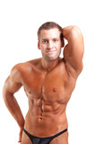 bodybuilder posing-show his abs poster
