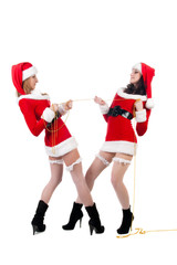 Two sexual girls in Christmas clothes