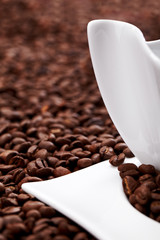 white coffee cup, costing on coffee grain