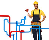plumber and pipe background